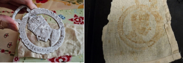 first flour-oil imprints using horse brass Oct 2014.png
